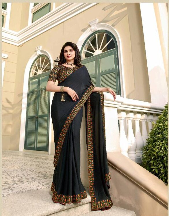 Dark Grey Saree with Designer Blouse Online Shopping