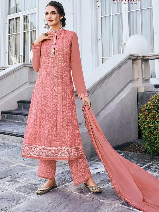 New Designer Baby Pink Color Lucknowi Chikankari With Plazzo