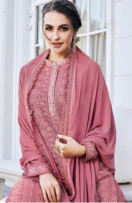 New Designer Best Embroidered Luknowi Chikankari Suit With Palazzo