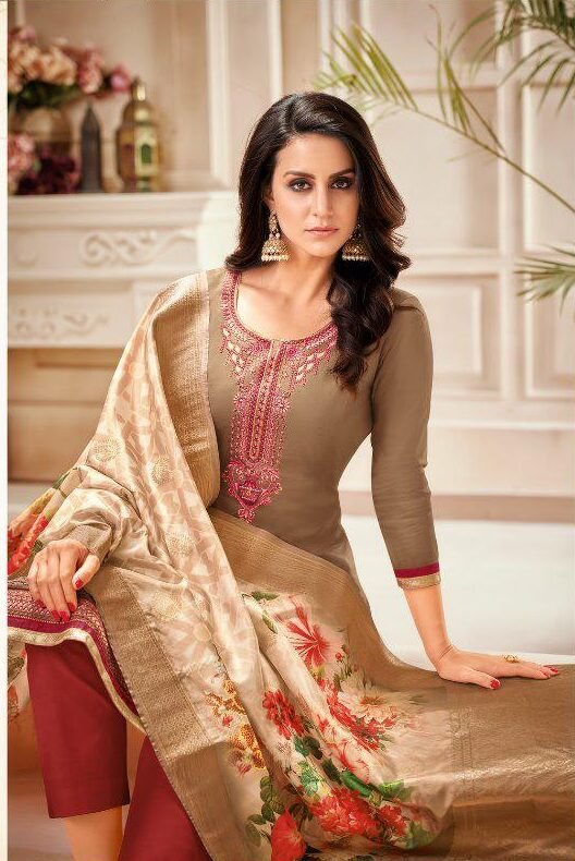 New Designer Syrup Color Readymade Suit With Heavy Dupatta