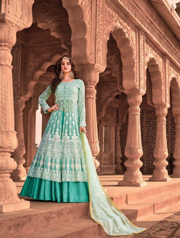 New Designer Violet Color Lucknowi Anarkali Suit