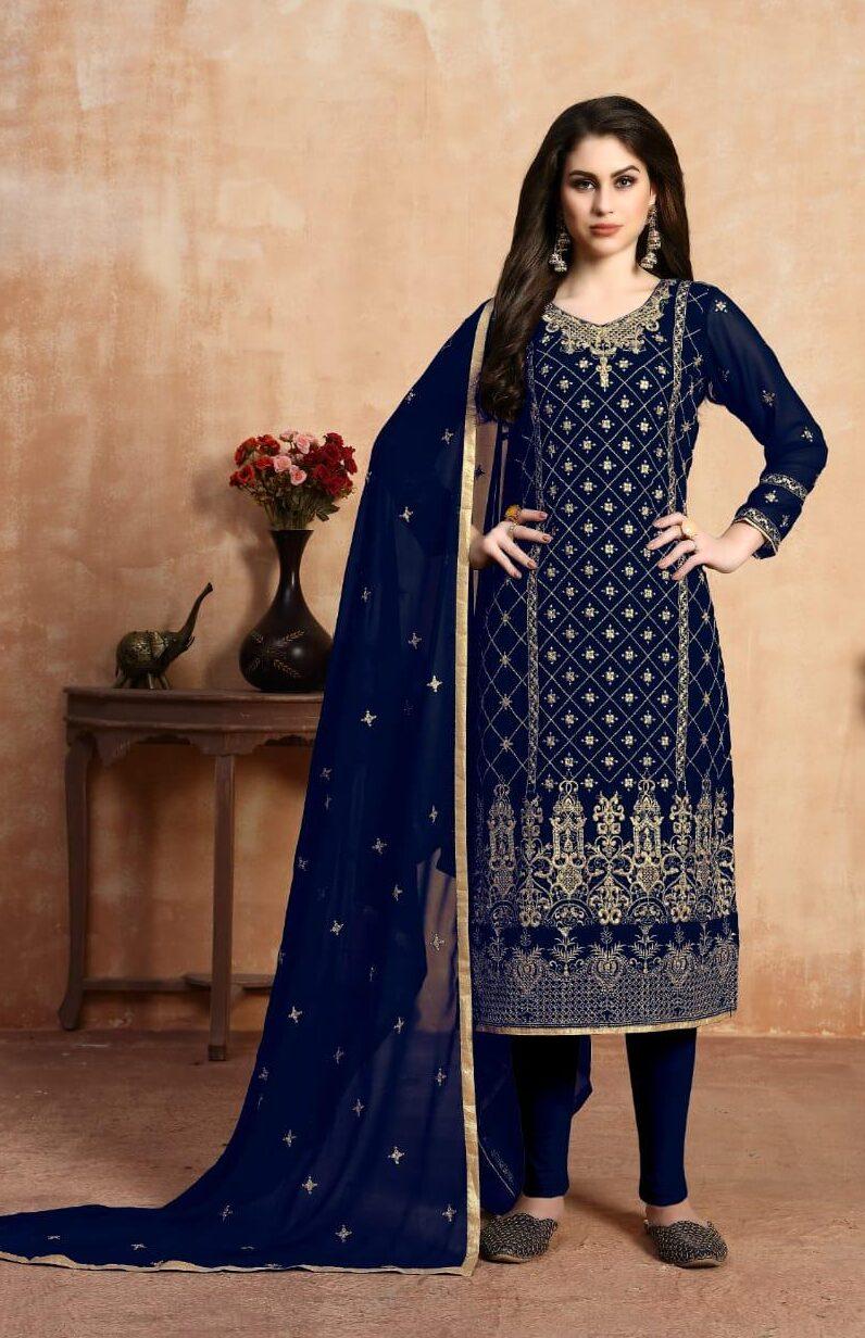 New Designer blue Color Catalogue Suit.
