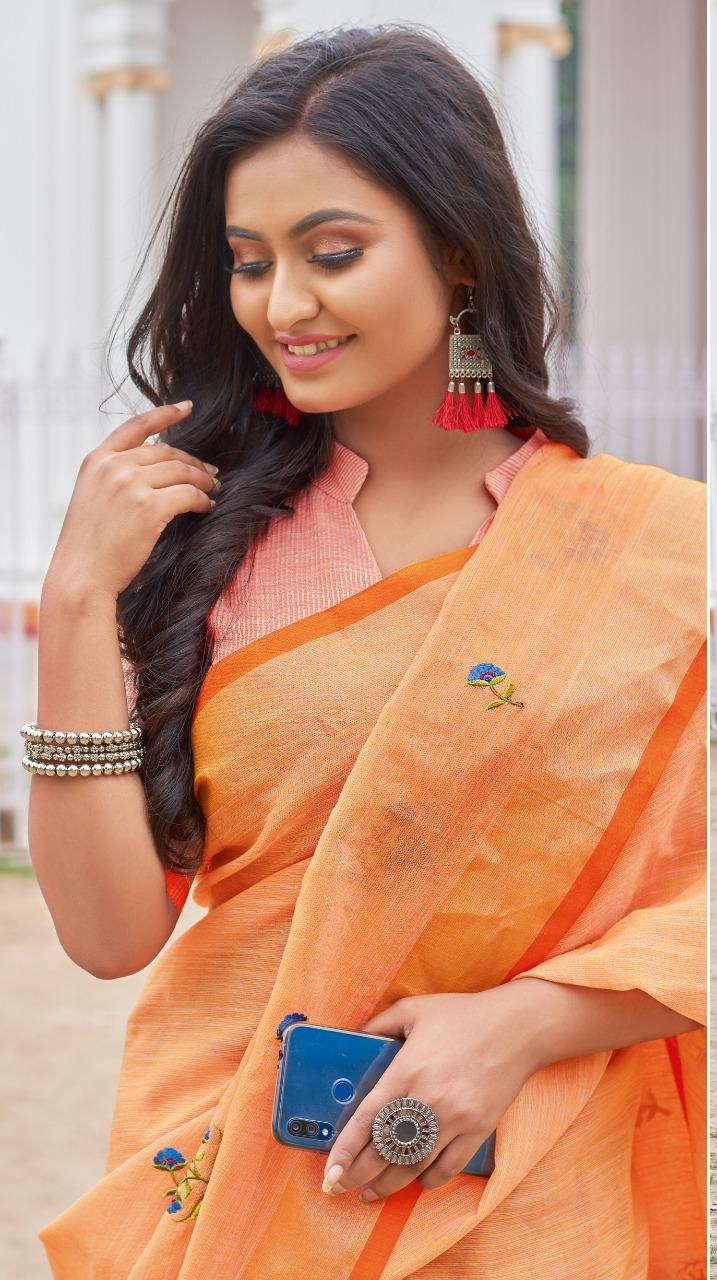 Orange Colour Designer Saree Blouses Online