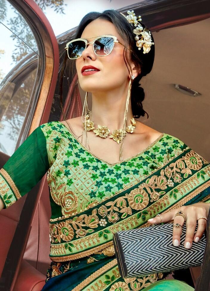 Parrot Green Fully Embroidered Wedding Saree for Bride