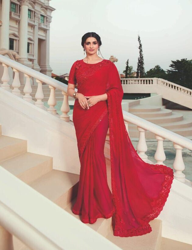 Sequence Work Designer Saree in Red