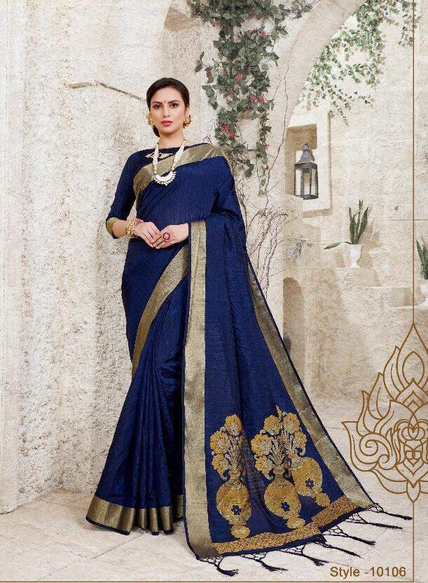 Blue Colour Rich Pallu silk Sarees Zari Border