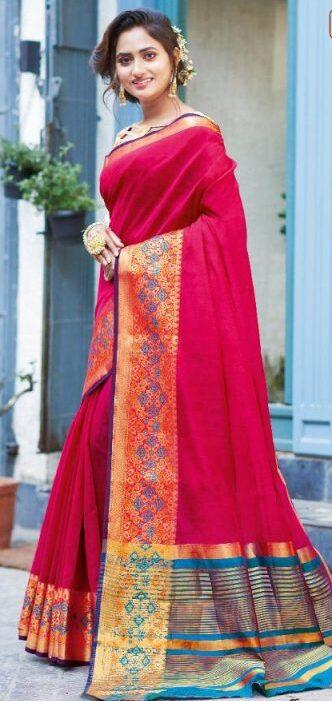 New Catalog Dark Pink Color Broad Border Saree Under 1000 to 2000