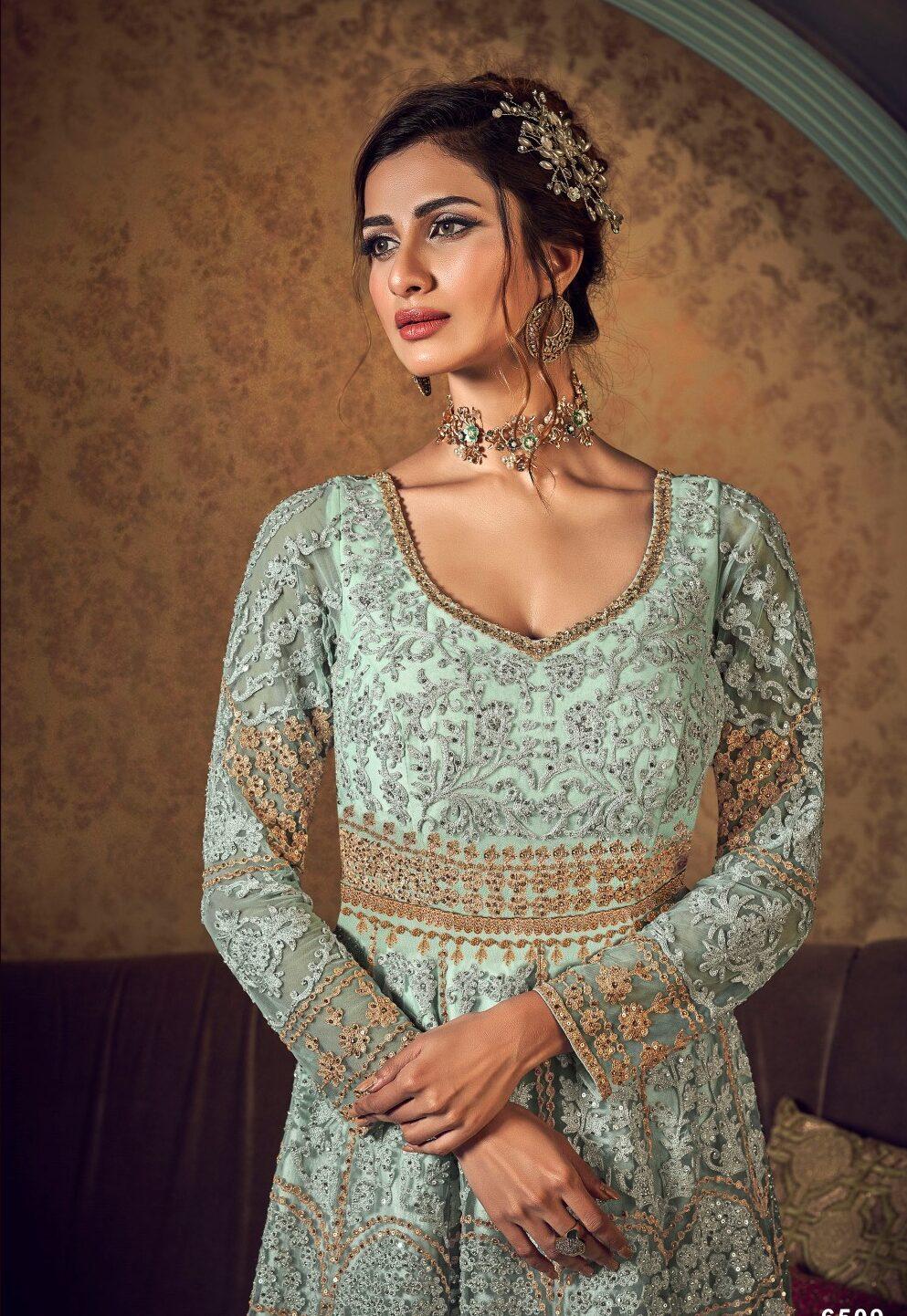 New Designer Baby Cream Blue Indian Wedding Gown.