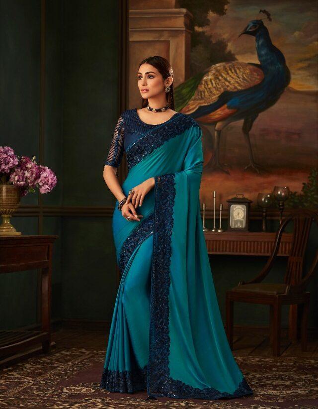 New Designer Blue Color saree With Price