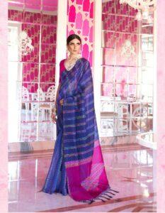 New Designer blue mix Red Silk Saree With Price.