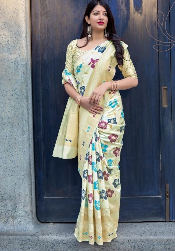 New Designer Cream Color Jamdani Sarees with Price