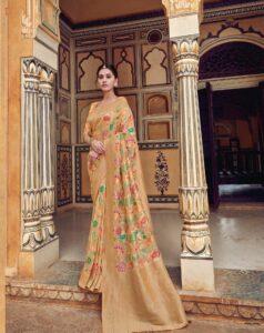 New Designer Cream Color Silk Saree With Price.
