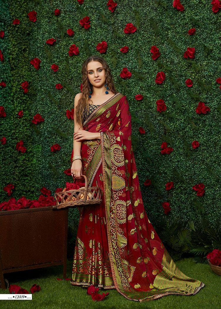 New Designer Dark Maroon Saree with Contrast Blouse