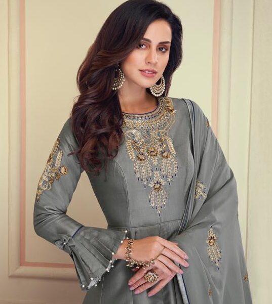 New Designer Gray Color Anarkali Long Kurti Online