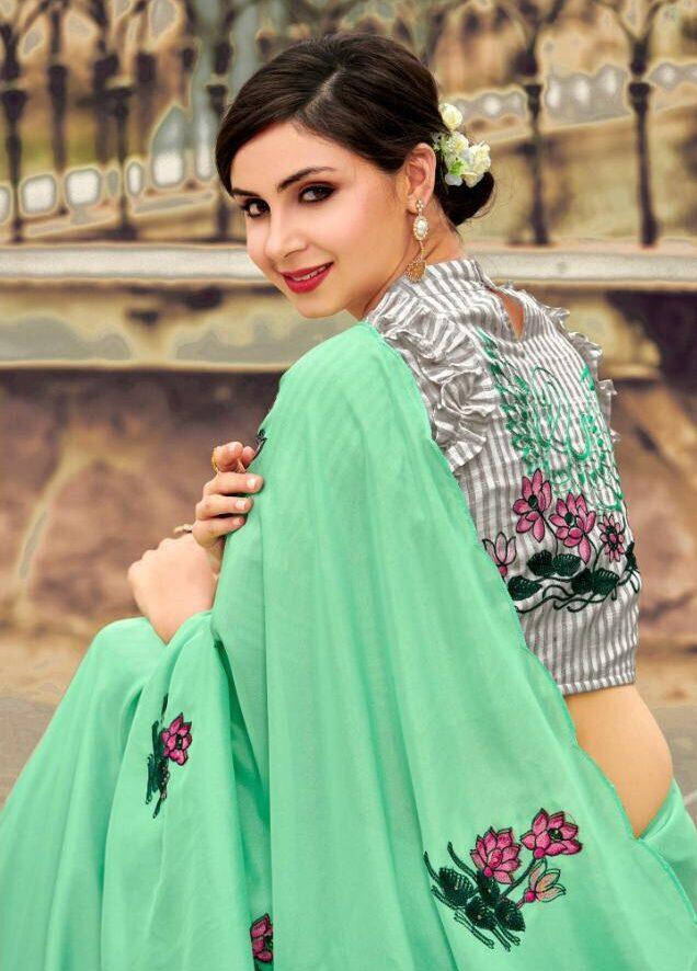 New Designer Light Baby Green Color Saree For Girls.