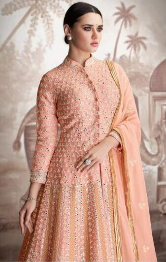 New Designer Light Orange Indo-western Party Wear Gown With Price
