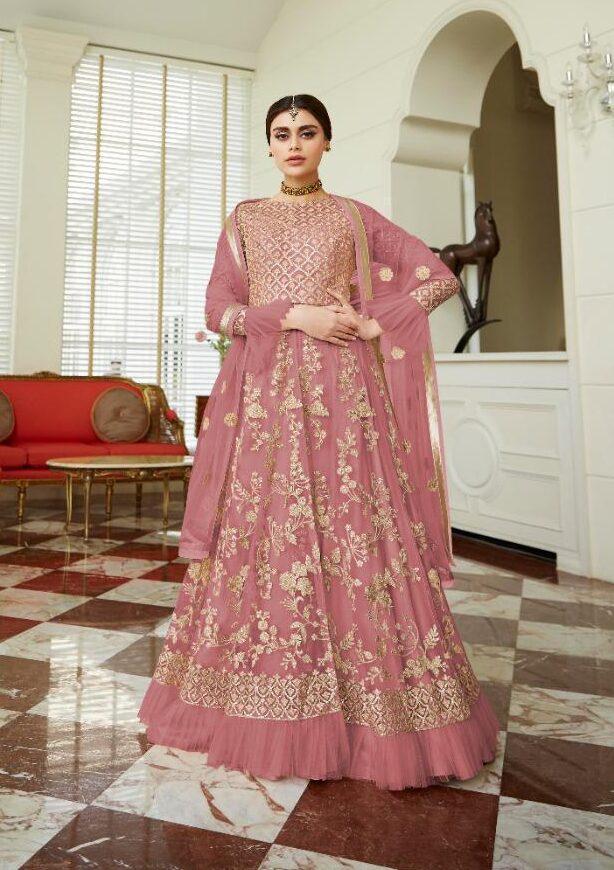New Designer Light Pink Color Butterfly Net heavy net gown.