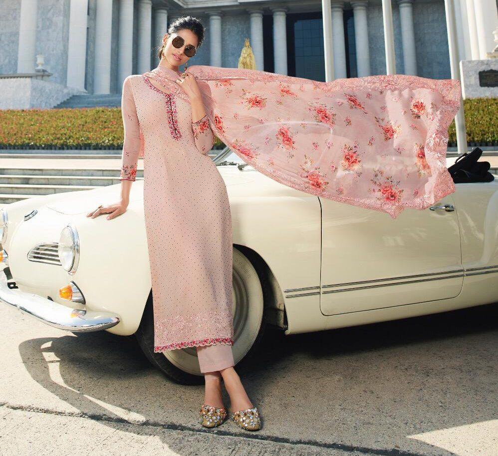 New Designer Light Pink Color Neck Design Punjabi Suit