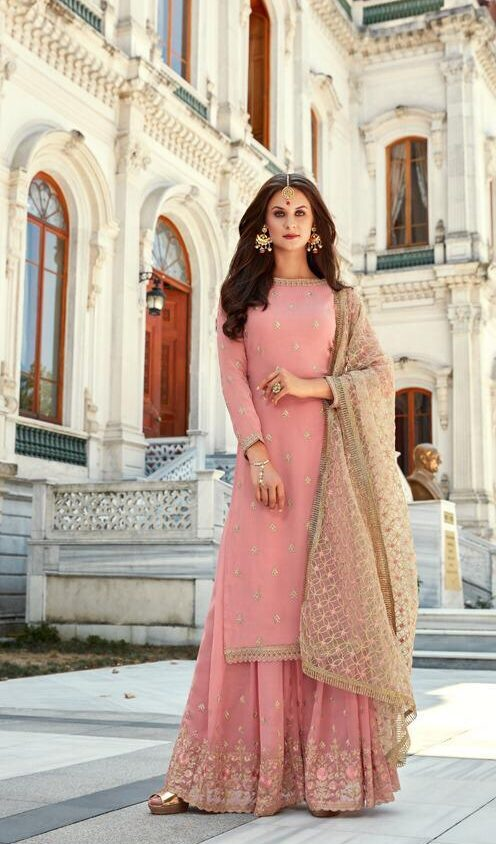 New Designer Light Pink Color Sahara Suit With Dupatta at Price