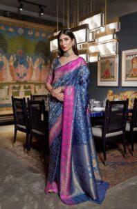 New Designer Blue Color Handlooms Saree With Price