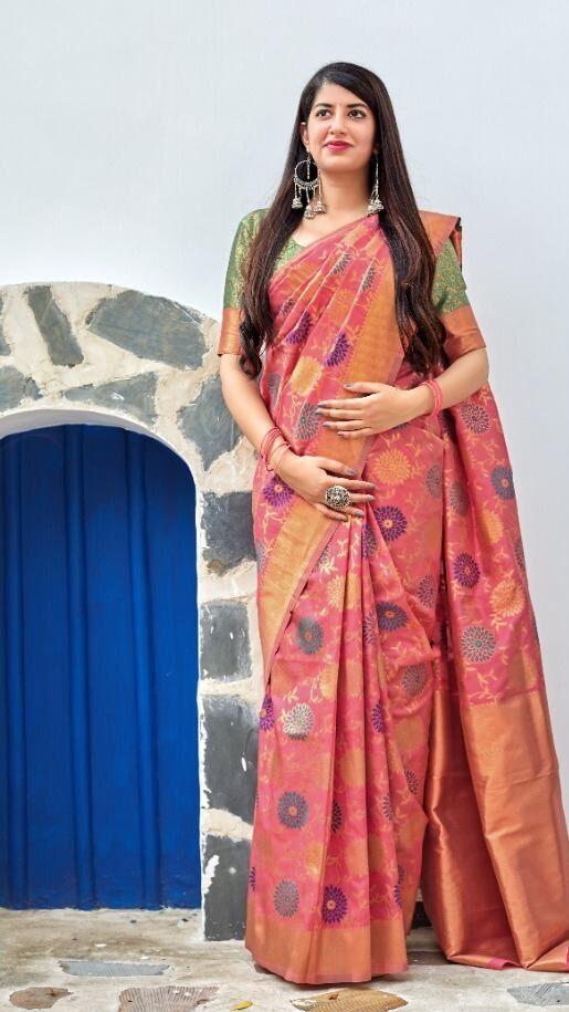 New Designer Pink Color Banarsi Saree With Price