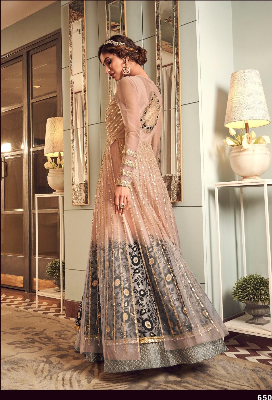 New Designer Pink Mix Black Party Wear Gown