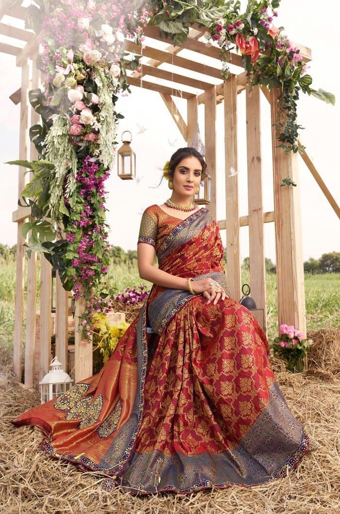 New Designer Wedding Reception Sarees for Bride in Embroidered Silk