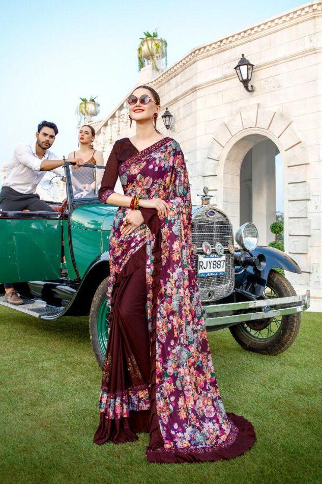 New Fashion of Saree in Ruffle Design