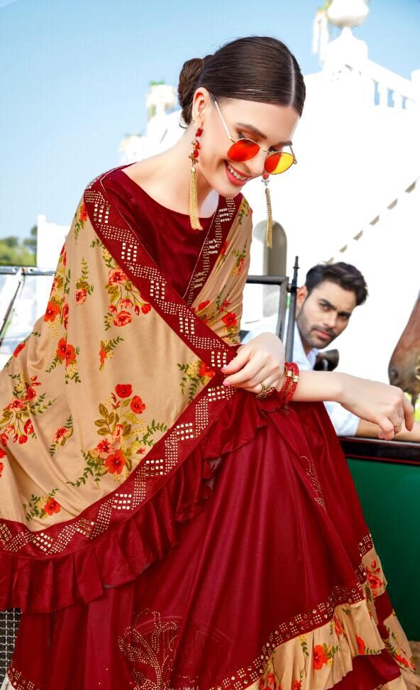 New Ruffle Designer Digital Print Fashion Saree Design