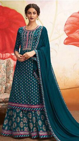 New Trend Designer Blue Color Salwar Suit with Price.