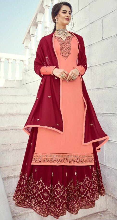 New Trend Designer pink Color Karwa Chauth Dress.
