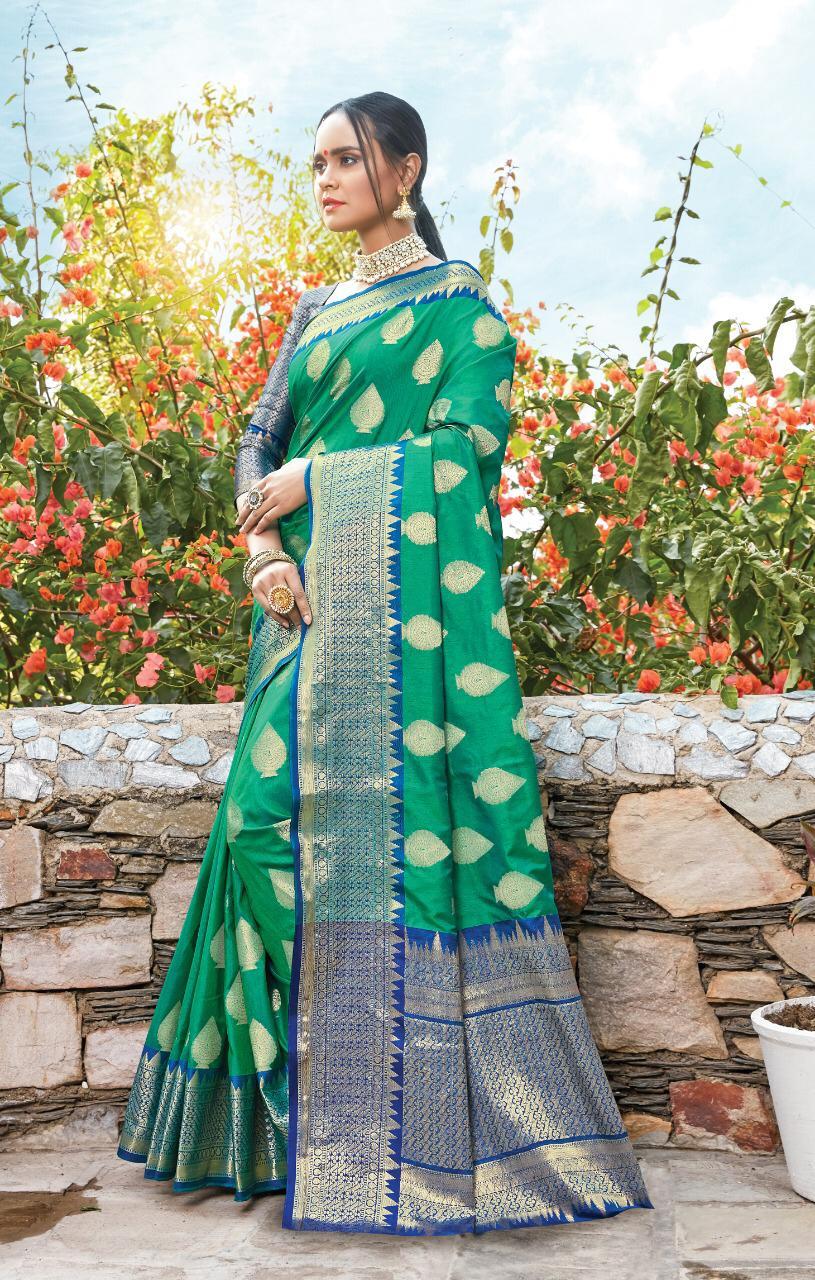 New designer green color silk saree collection.