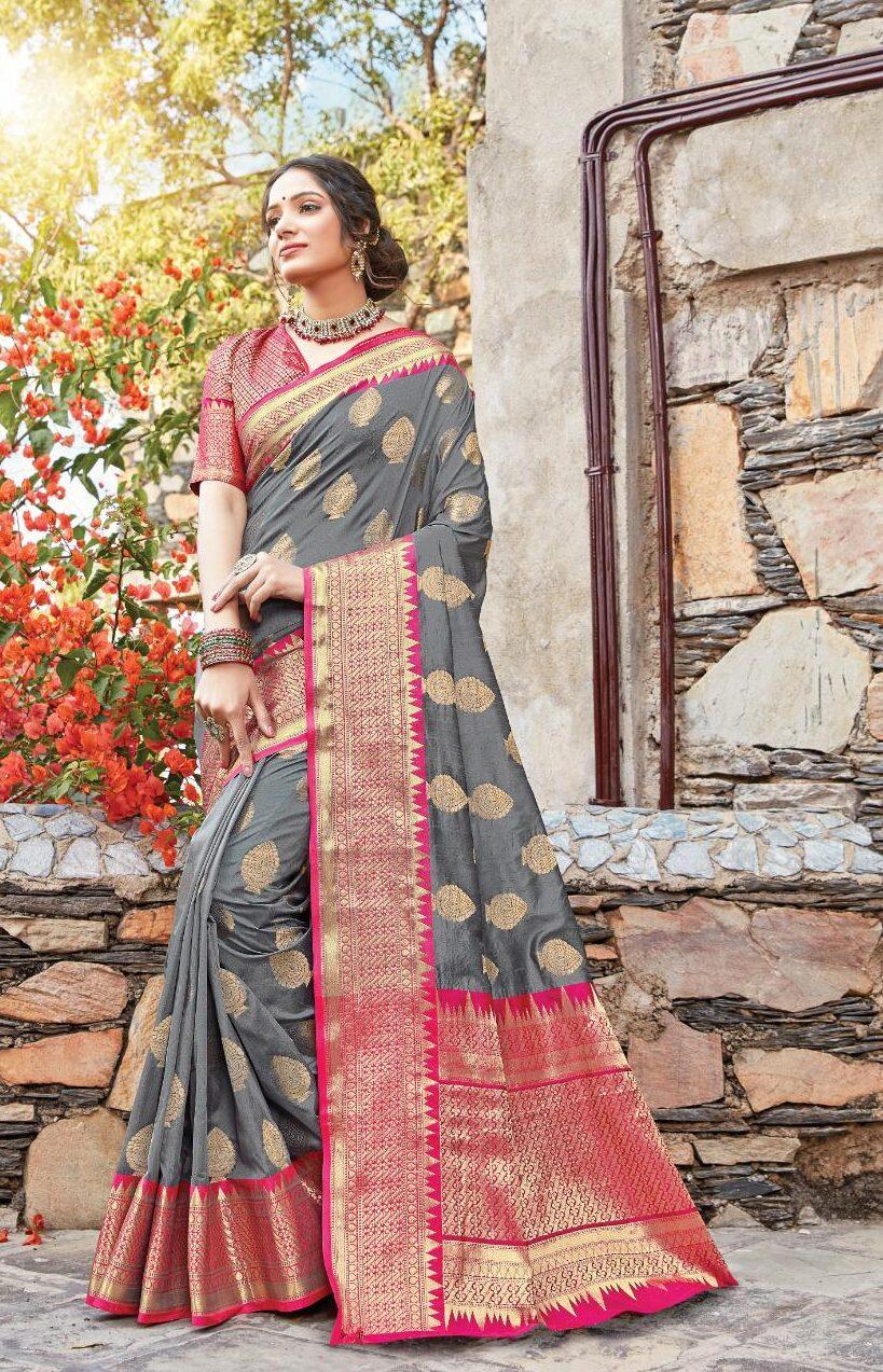 New designer grey color silk saree for wedding.