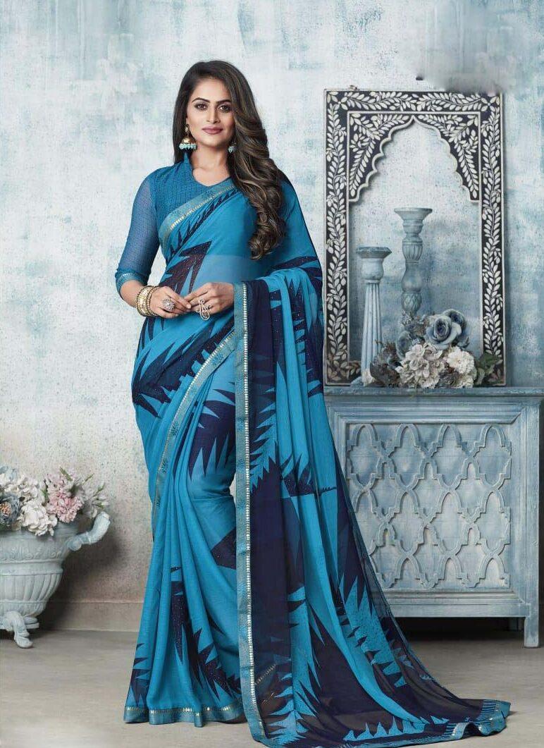 New designer nevi blue chiffon saree printed