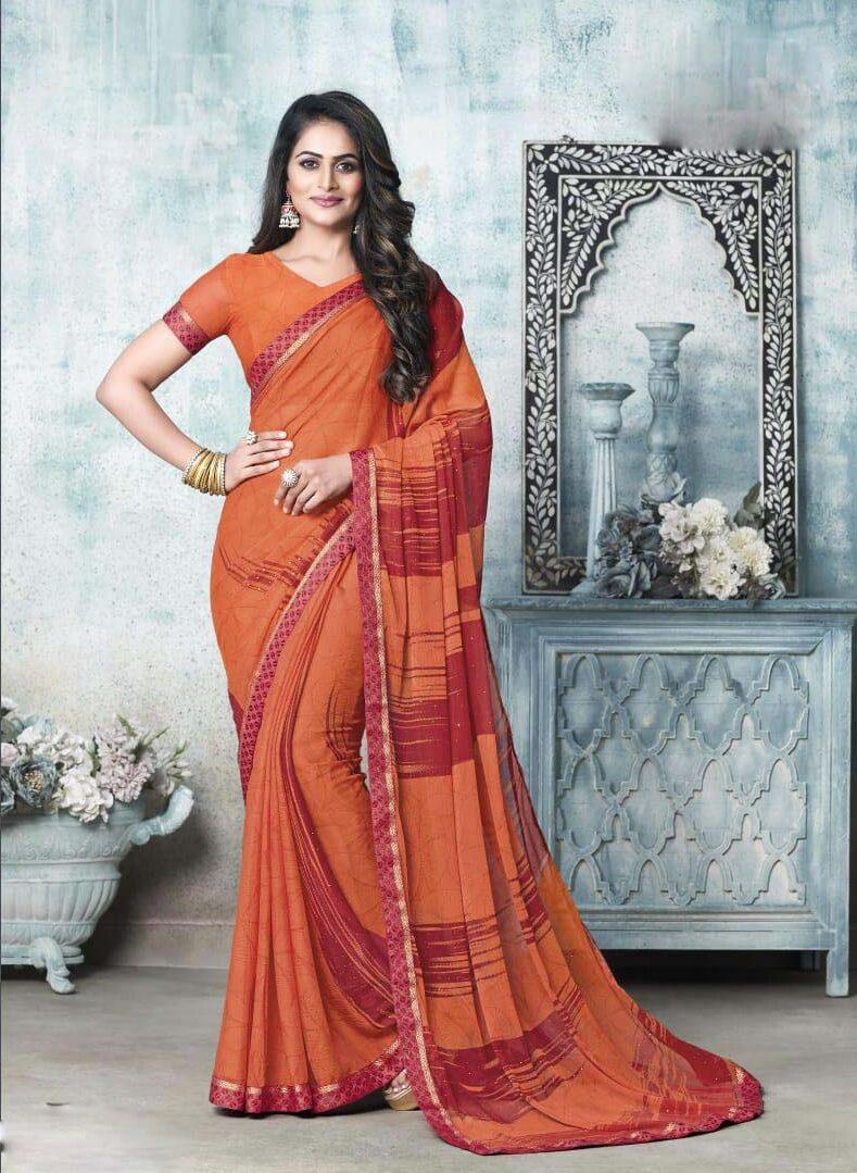 New designer orange color chiffon saree pure.