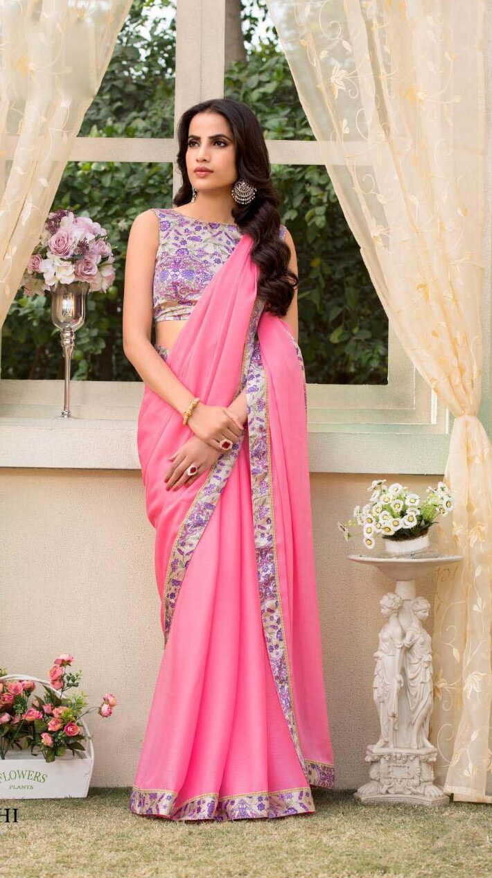 New designer pink color plain saree with printed blouse.