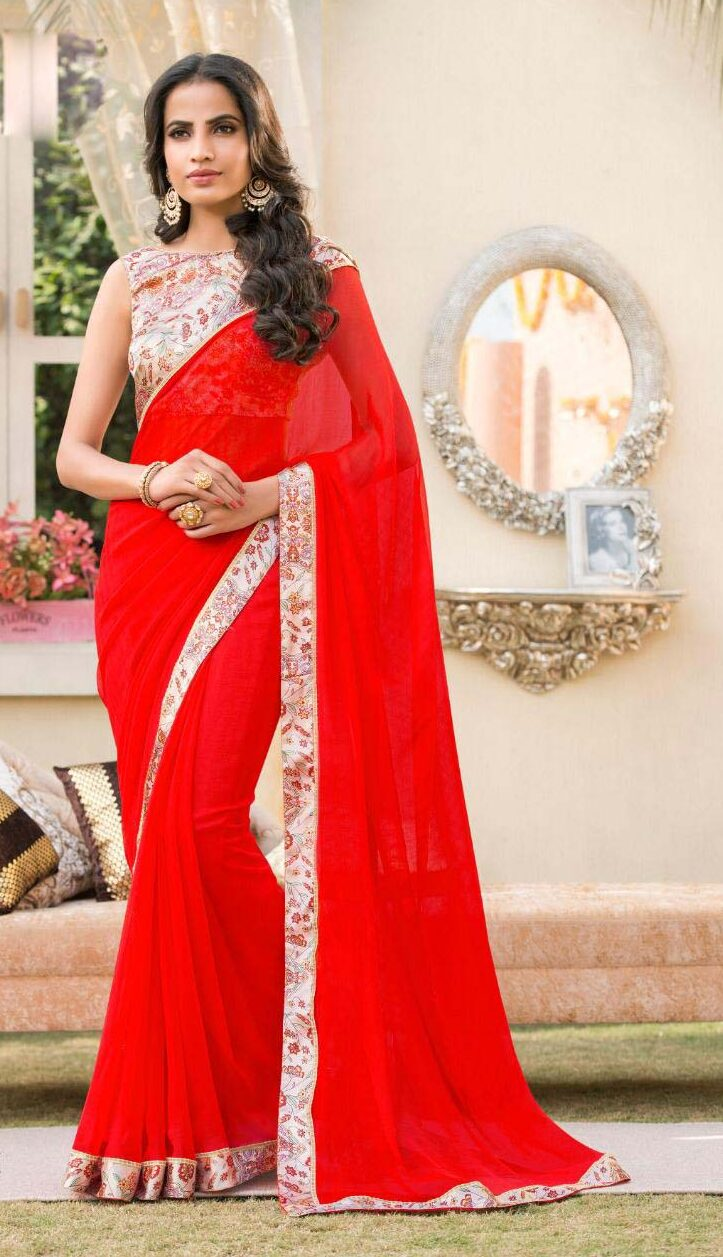 New designer red color contrast blouse for saree