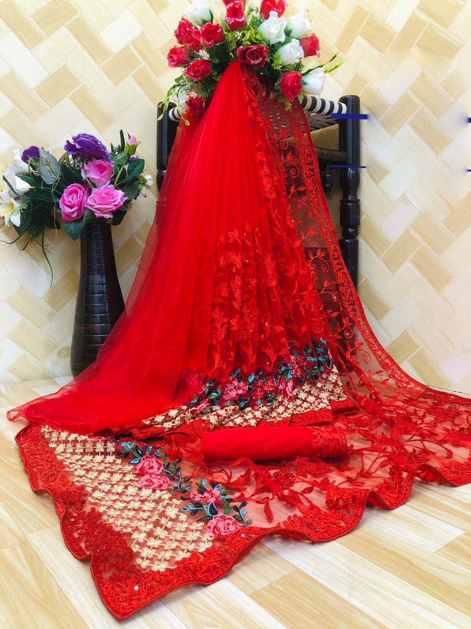New designer red color karwa chauth special saree look