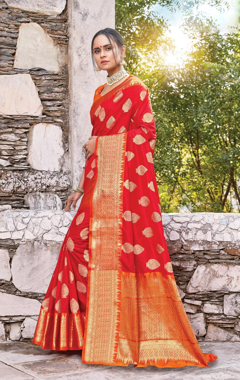 New designer red color silk sarees with price.