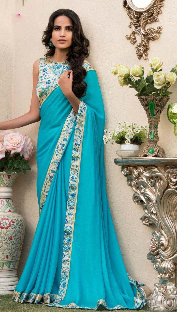 New designer sky blue color daily use saree.