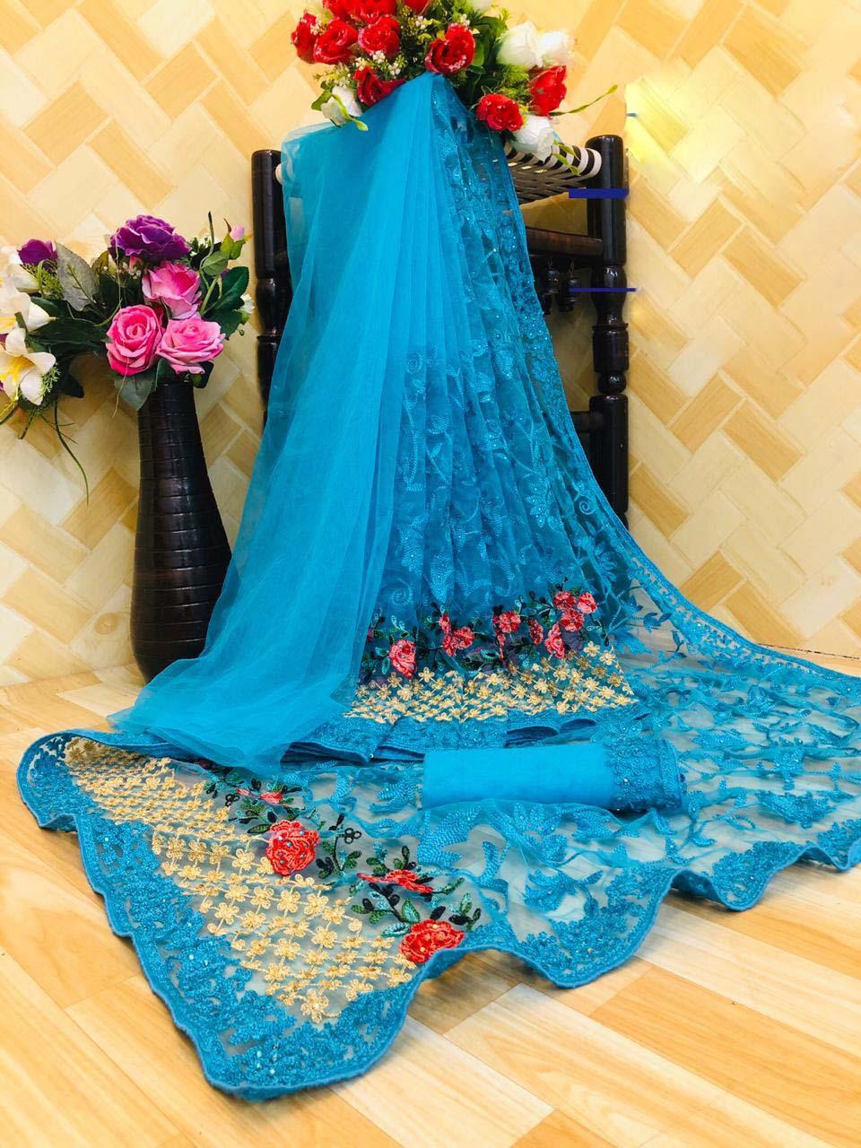 New designer sky blue net saree for karwa chauth