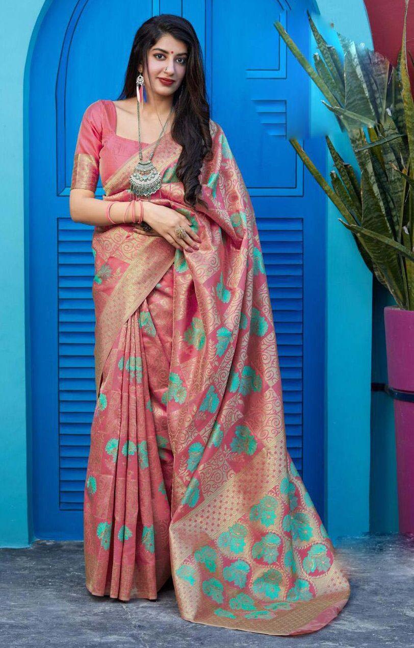 New trend designer pink color bridal silk saree blouse designs