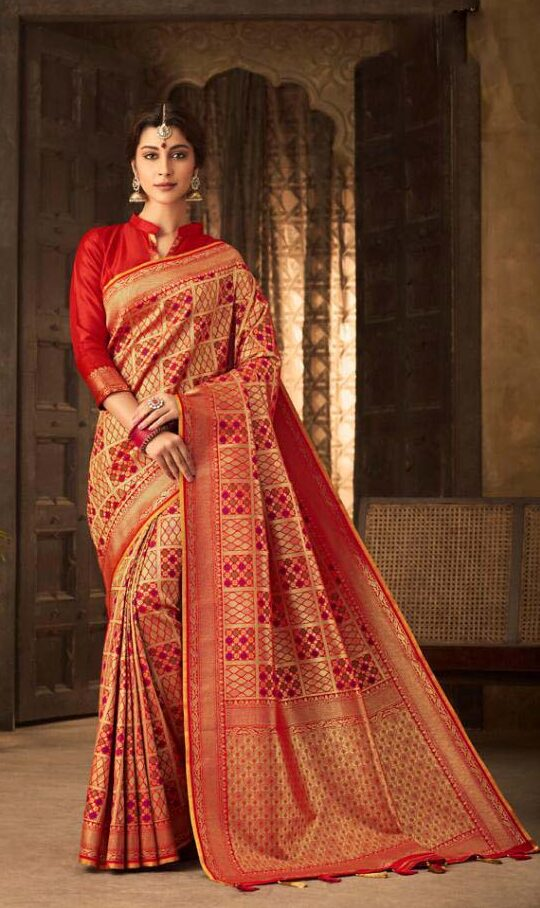 New trend designer red color silk saree blouse design
