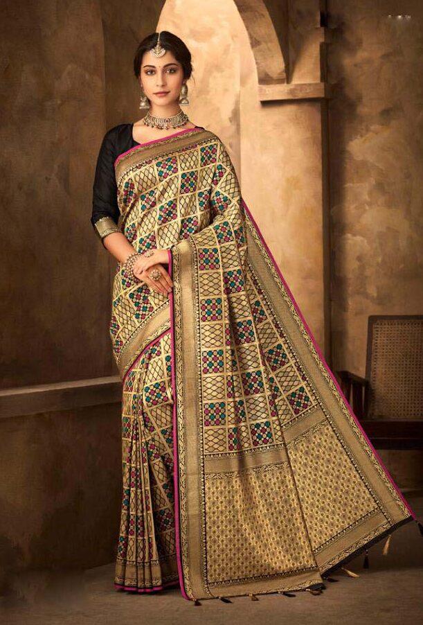 New trend designer silk saree with black blouse