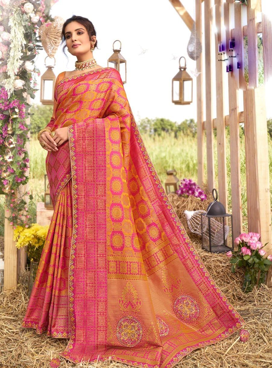 Silk Embroidered Designer Royal Golden Saree