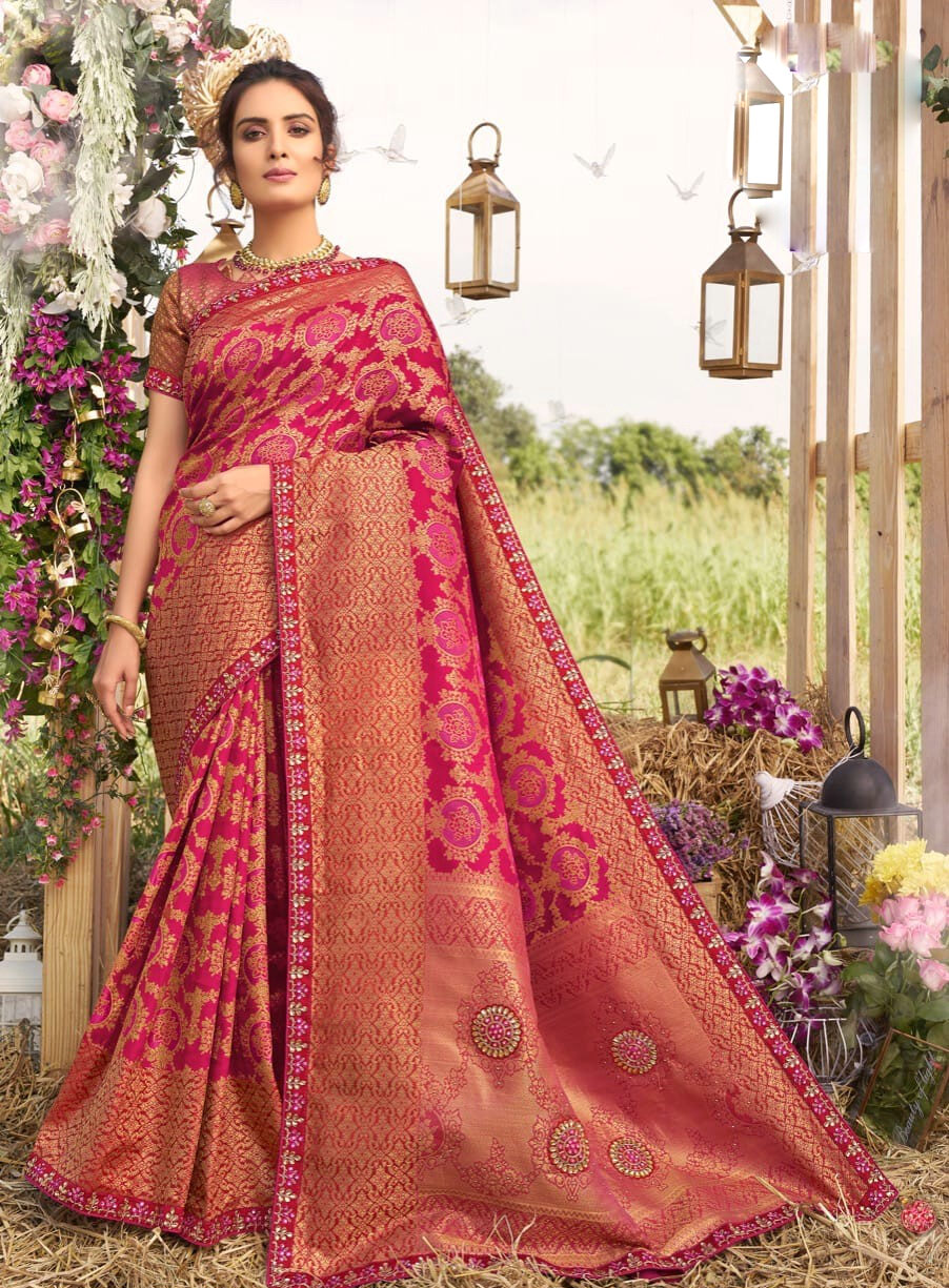 Silk Embroidered Designer Latest Wedding Sarees Collection