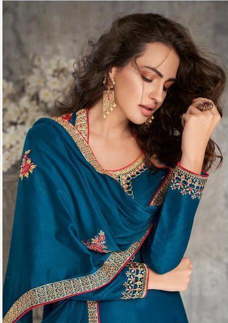 Ultramarine Blue Tussar Silk Churidar Designs