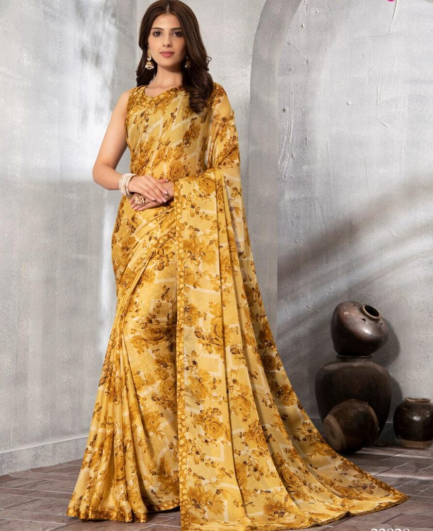 Yellow Printed Floral Designer Saree for Daily Wear