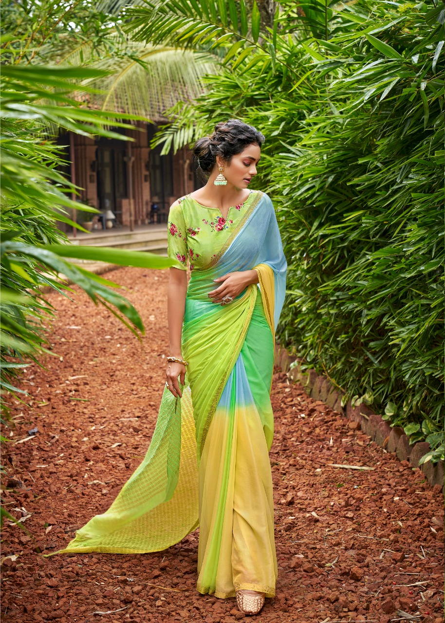 Double Shaded Plain Pure Chiffon Sarees with Designer Blouse