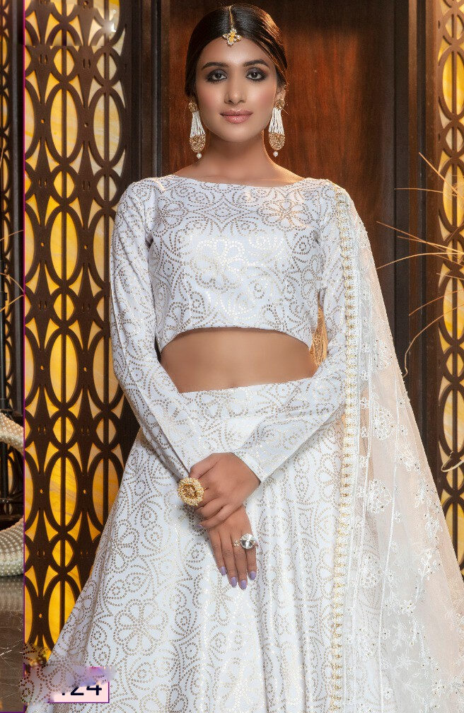 Bandhej Print White Lehenga Skirt with Crop Top